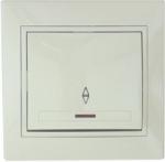 Lezard MIRA выключатель 1-кл. проходной с подсветкой крем 701-0303-114