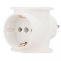 11-1080 Тройник электрический универсальный 16 А одно гнездо с заземлением белый REXANT