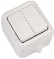 Makel полугерметичный IP44 выключатель 2кл белый 18301