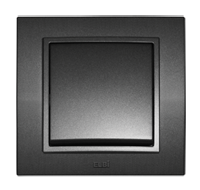 EL-BI Zena выключатель 2 кл. прох. Черный механизм 609-011100-211
