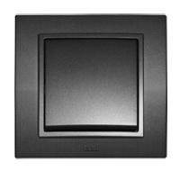 EL-BI Zena выключатель 2 кл. с подсв. Черный механизм 609-011100-203