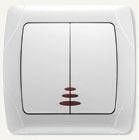 Viko Carmen выключатель встраиваемый 2кл. с подсветкой белый 90561050