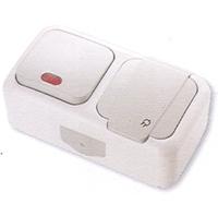 Vi-ko Palmiye блок В1 с подсветкой+Розетка с крышкой IP54 открытая установка серая 90555599