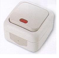 Vi-ko Palmiye выключатель 1 кл. с подсветкой IP54 открытая установка серая 90555519