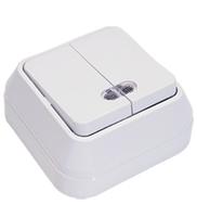 Makel SIVA USTU выключатель 2 кл. с подсв. белый 45123