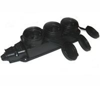 BEMIS Колодка на 3 розетки с заземлением с крышками резиновая IP44 Бемис 10-010
