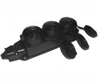 BEMIS Колодка на 3 розетки с заземлением с крышками резиновая 16A IP44 10-010