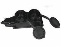 BEMIS Колодка из 2 розеток с заземлением с крышками 16A IP44 10-242