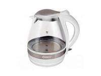 Чайник ENERGY E-250G (1,6 л, диск) стеклянный белый