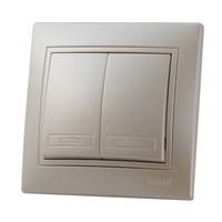 Lezard MIRA выключатель 2 кл. Жемчужно-белый металлик 3030-101