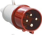 Вилка силовая 4 контакта 32А 024 380V 3Р+E IP44