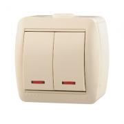 Lezard NATA выключатель 2 кл. с подс. крем 710-0300-112