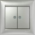 Legrand Valena Выключатель 2кл. с подсв. алюминий 770128