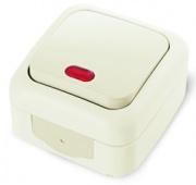 Vi-ko Palmiye выключатель 1 кл. с подсветкой IP54 открытая установка крем 90555619