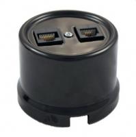 Bironi Компьютерная розетка двойная пластик черный В1-302-23