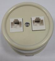 Bironi Компьютерная розетка двойная пластик, слоновая кость В1-302-211
