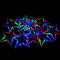 "CL57 гирлянда ""ледяные звезды"",  100  RGB LED, 10 звёзд (18*18см), длина 3.7 м, шнур 1,5м. 26823"