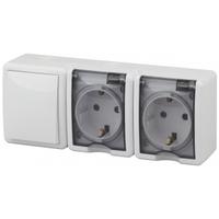 Эксперт Блок розетка 2-я с/з+выключатель 1кл белый IP54 11-7403-01