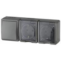 Эксперт Блок розетка 2-я с/з+выключатель 1кл черный IP54 11-7403-03
