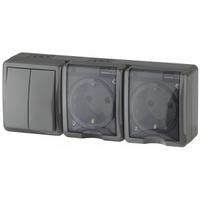 Эксперт Блок розетка 2-я с/з+выключатель 2кл черный IP54 11-7404-03