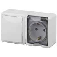 Эксперт Блок розетка с/з+выключатель 1кл белый горизонтальный IP54 11-7401-01
