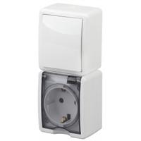 Эксперт Блок розетка с/з+выключатель 1кл белый IP54 11-7407-01