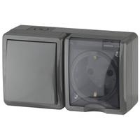 Эксперт Блок розетка с/з+выключатель 1кл черный горизонтальный IP54 11-7401-03