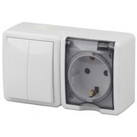 Эксперт Блок розетка с/з+выключатель 2кл белый горизонтальный IP54 11-7402-01