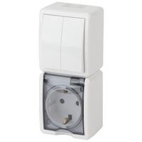 Эксперт Блок розетка с/з+выключатель 2кл белый IP54 11-7408-01