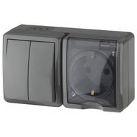 Эксперт Блок розетка с/з+выключатель 2кл черный горизонтальный IP54 11-7402-03