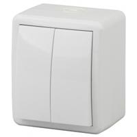 Эксперт Блок выключатель 2кл с подсветкой белый IP54 11-1405-01