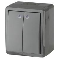 Эксперт Блок выключатель 2кл с подсветкой черный IP54 11-1405-03