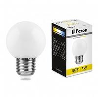Feron LB-37 лампа светодиодная шарик E27 1W 230V 70*45мм 2700К 25878