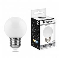 Feron LB-37 лампа светодиодная шарик E27 1W 230V 70*45мм 6400К 25115