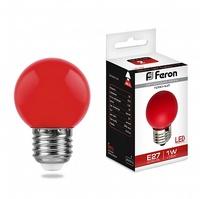Feron LB-37 лампа светодиодная шарик E27 1W 230V 70*45мм красный 25116