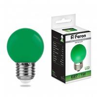 Feron LB-37 лампа светодиодная шарик E27 1W 230V 70*45мм зеленый 25117