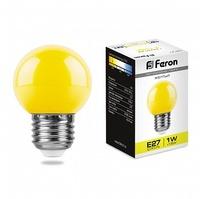 Feron LB-37 лампа светодиодная шарик E27 1W 230V 70*45мм желтый 25879