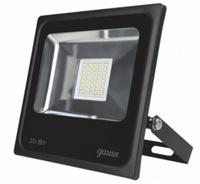 Gauss прожектор светодиодный 20W IP65 6500К черный 613100320
