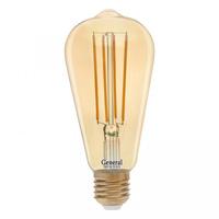 GENERAL лампа светодиодная декоративная GLDEN-ST64S-10-230-E27-2700 Золотая 655302