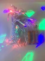 Гирлянда светодиодная линейная на батарейках ААА-3шт, 50 цветных диодов, прозрачный шнур 6м