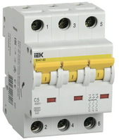 iEK Автоматический выключатель ВА47-60 3П 25А хар-ка С MVA41-3-025-C