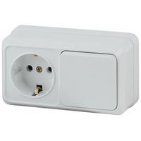 Intro Quadro Блок розетка с/з+выключатель 1кл белый горизонтальный 2-701-01