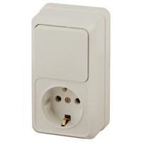 Intro Quadro Блок розетка с/з+выключатель 1кл слоновая кость 2-705-02
