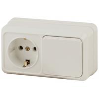 Intro Quadro Блок розетка с/з+выключатель 1кл слоновая кость горизонтальный 2-701-02