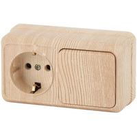 Intro Quadro Блок розетка с/з+выключатель 1кл сосна горизонтальный 2-701-11