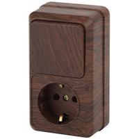 Intro Quadro Блок розетка с/з+выключатель 1кл венге 2-705-10