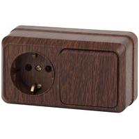 Intro Quadro Блок розетка с/з+выключатель 1кл венге горизонтальный 2-701-10