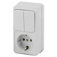 Intro Quadro Блок розетка с/з+выключатель 2кл белый 2-706-01