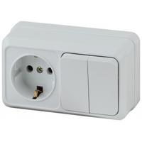 Intro Quadro Блок розетка с/з+выключатель 2кл белый горизонтальный 2-706-01