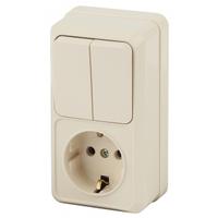 Intro Quadro Блок розетка с/з+выключатель 2кл слоновая кость 2-706-02